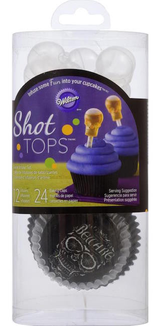Skull Cupcake Liners and Shot Tops Flavor Infusers Set