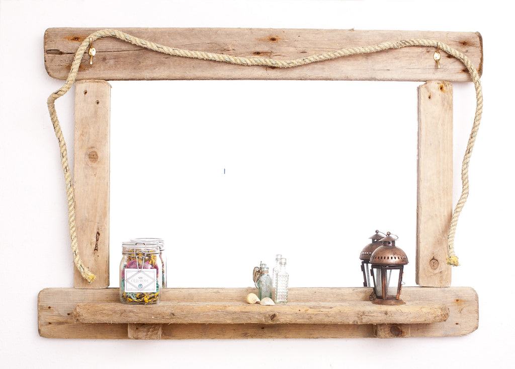 Driftwood Mirror With Shelf (Extra Large)