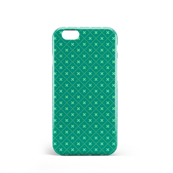Green criss cross pattern phone case