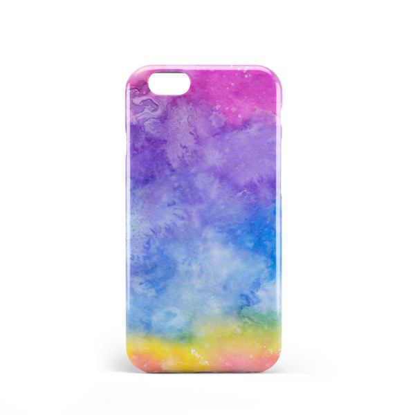 Dye effect phone case with pink, purple, blue yellow, green and red
