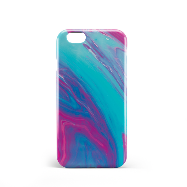turquoise and dark pink marble effect phone case
