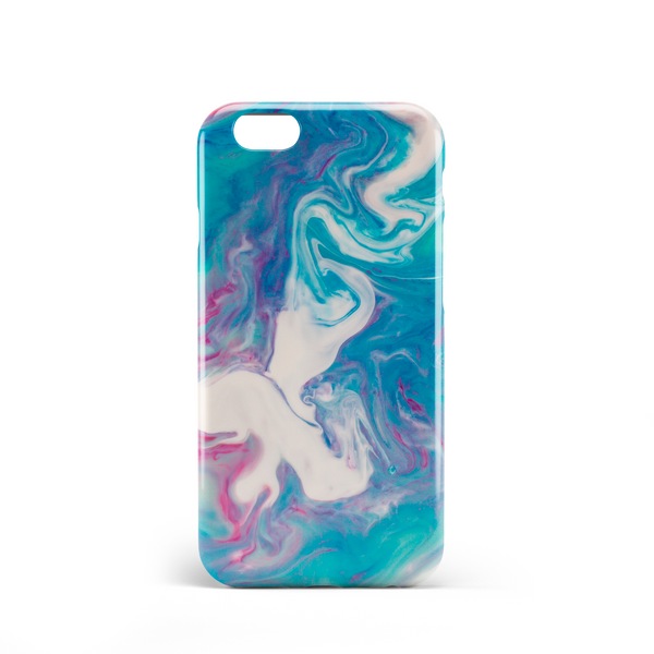 blue green red marble effect phone case