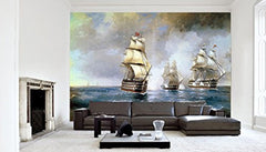 Startonight Mural Wall Art Photo Decor Aivazovsky Brig Mercury Attacked By Two Turkish Ships 1894 Large 8-feet 4-inch By 12-feet Wall Mural for Living Room or Bedroom