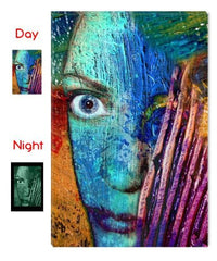 Startonight Canvas Wall Art Abstract Face, Abstract USA Design for Home Decor, Dual View Surprise Artwork Modern Framed Ready to Hang Wall Art 31.5 X 47.2 Inch 100% Original Art Painting!
