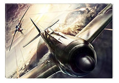 Startonight Canvas Wall Art A Fight Plane My Room!, Grunge USA Design for Home Decor, Dual View Surprise Artwork Modern Framed Ready to Hang Wall Art 31.5 X 47.2 Inch 100% Original Art Painting!