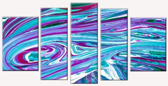 Startonight Canvas Wall Art Abstract Ocean Waves, Sets USA Design for Home Decor, Dual View Surprise Wall Art Set of 5 Total 35.43 X 70.87 Inch 100% Original Art Painting!