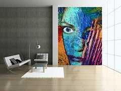 Startonight Mural Wall Art Photo Decor Abstract Face Large 4-feet 2-inch By 6-feet Wall Mural for Living Room or Bedroom
