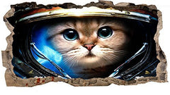 Startonight 3D Mural Wall Art Photo Decor Astronaut Cat Amazing Dual View Surprise Large 32.28 inch By 59.06 inch Wall Mural Wallpaper for Living Room or Bedroom Space Collection Wall Art