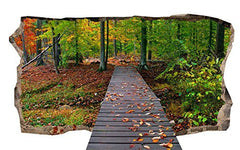 Startonight 3D Mural Wall Art Photo Bridge for Forest Amazing Dual View Surprise Large 32.28 inch By 59.06 inch Wall Mural Wallpaper for Living or Bedroom Landscape Collection Wall Art