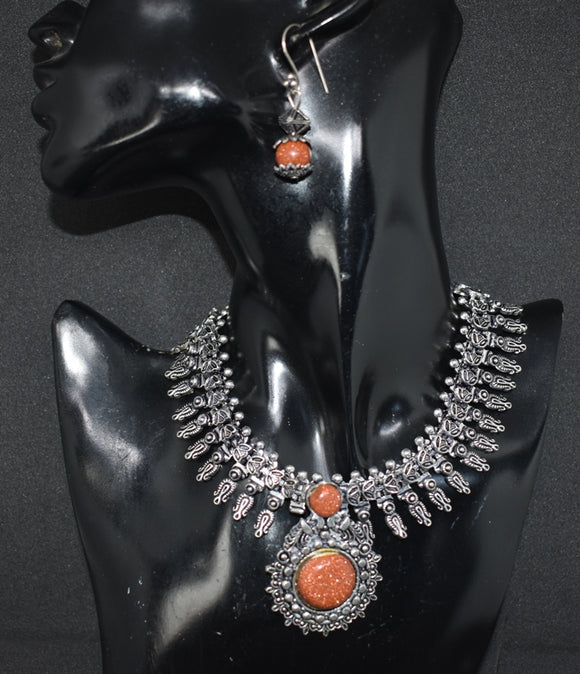 Oxidized German Silver Ethnic Necklace set with Sand stone pendant