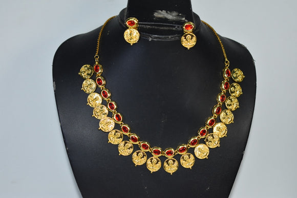 Red stone studded Coin necklace set
