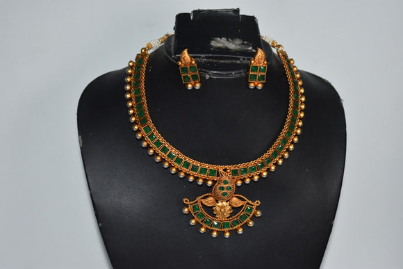 Matte finish Traditional Stone studded Necklace set in Green