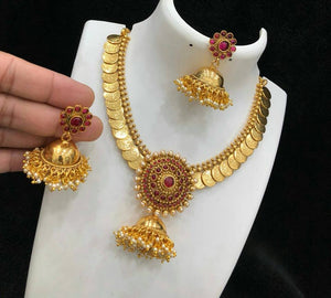 Coin necklace with jhumka pendant