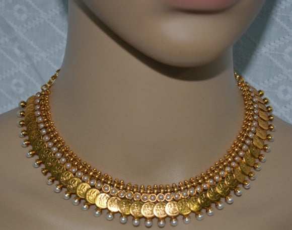 Traditional Coin Necklace Pearl Studded