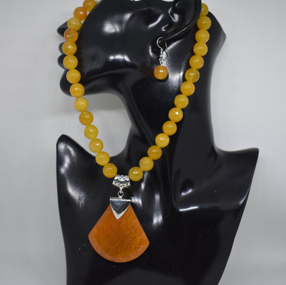 Yellow 12mm Agate beads Necklace set
