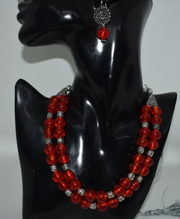 Red foiled Glass beads set