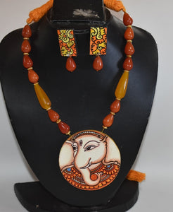 Kerala Mural hand painted pendant in Ganesha design