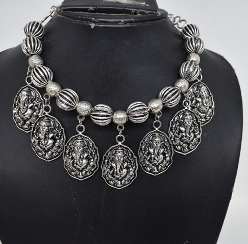 Ganesha design German silver set
