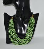 Multi strand Trendy necklace in Green semi precious Chip bead necklace in thread