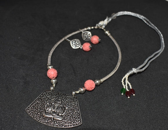 Oxidized German silver Ganesha design Choker