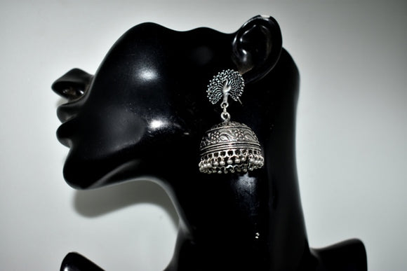 Oxidized Jhumka , with Peacock stud