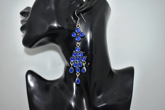 Oxidized German Silver hanging Earrings (Blue)