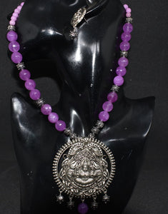 Oxidized German Silver Laxmi design Pendant with Light purple Faceted agate beads
