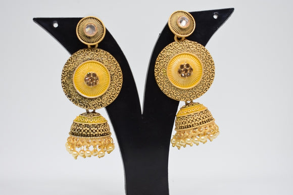 Matte Finish earrings with Jhumkas