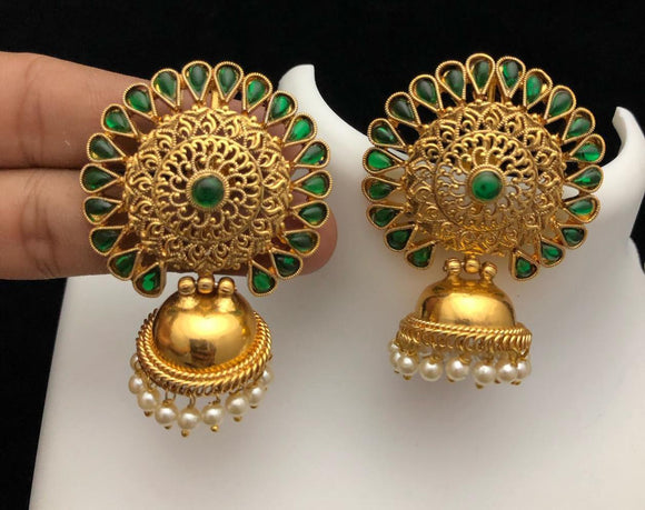 Jhumka with big green stone stud