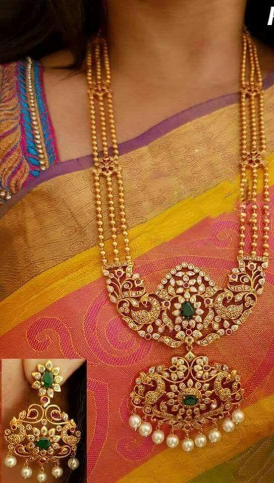 Ethnic long necklace, with stone studded pendant
