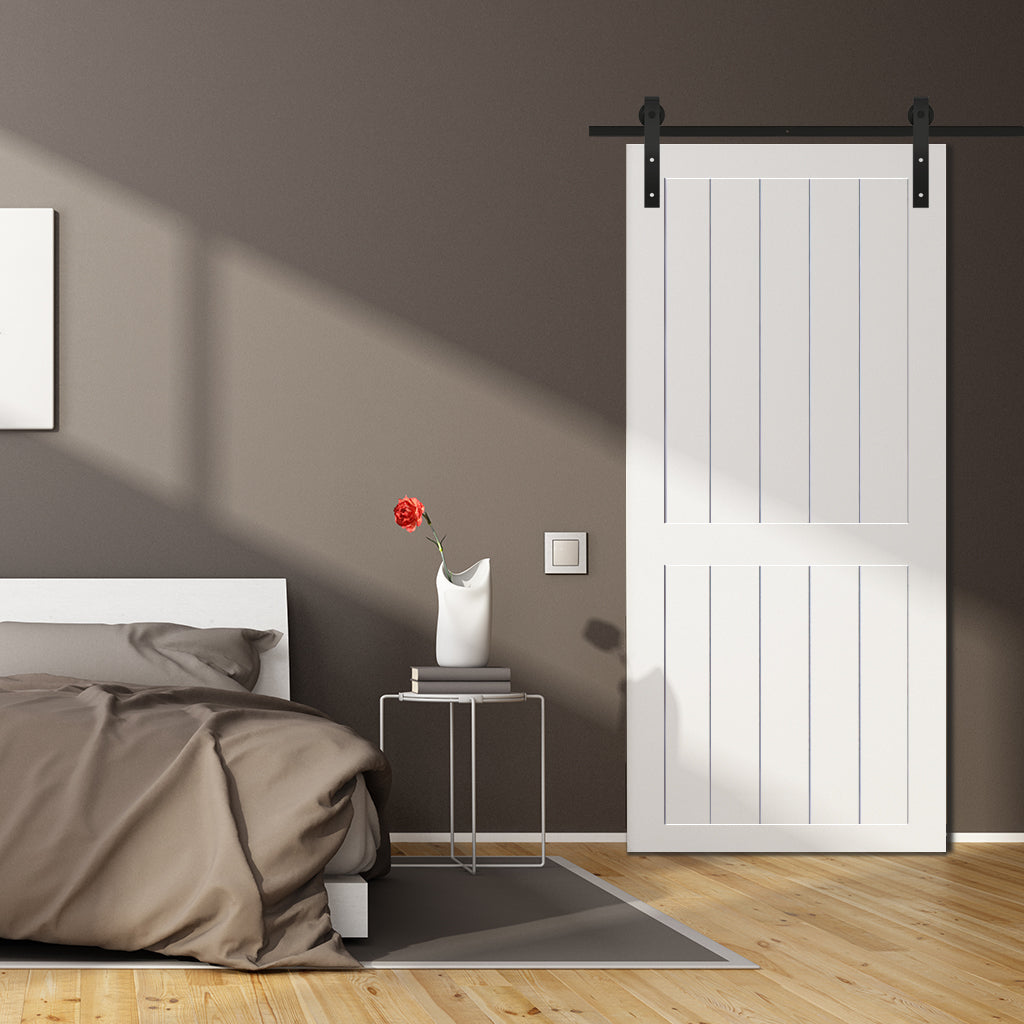 Hang Some Art   These White Barn Doors Catch The Eye!