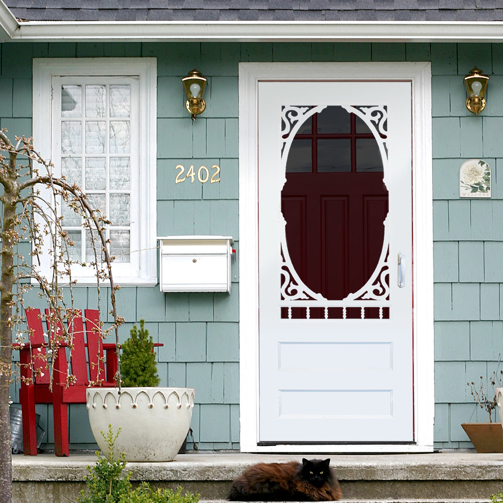 Decadent screen door design in wood or vinyl