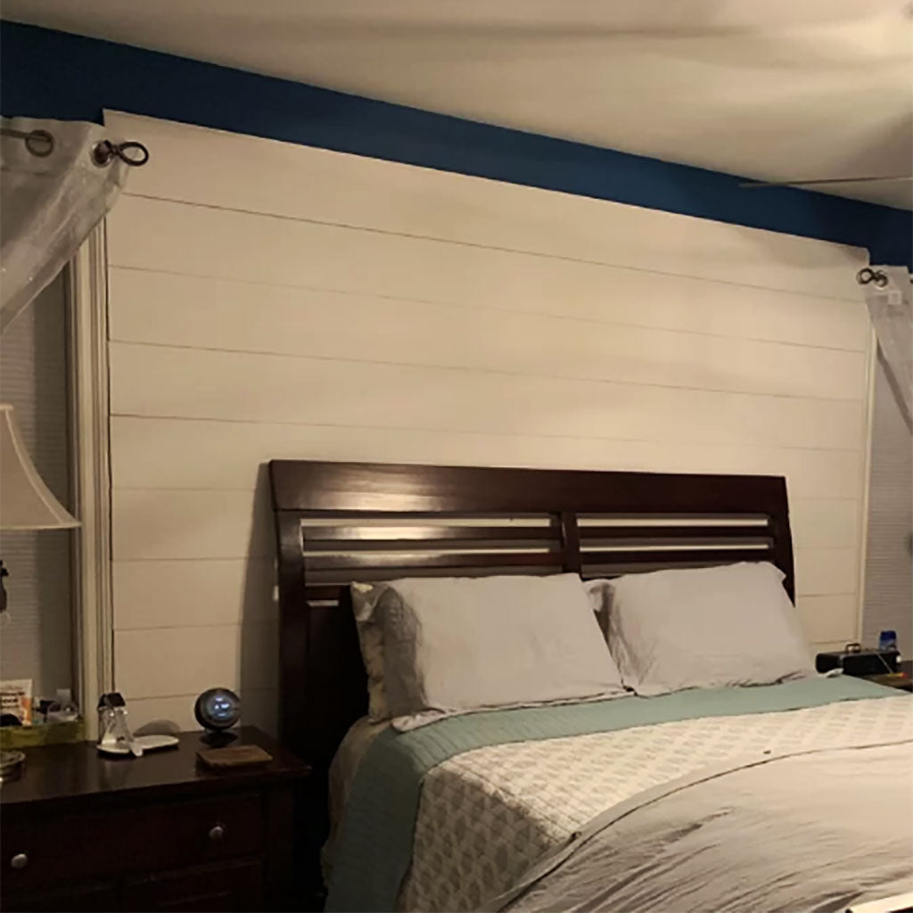 CUSTOMER SHARE - WHITE SHIP LAP ACCENT WALL