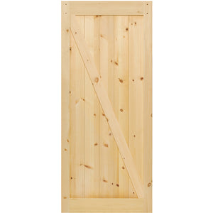 Z-Rail Solid Knotty Pine Unfinished Interior Barn Door Slab