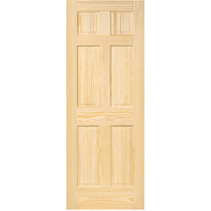 6-Panel Colonial Solid Pine Unfinished Interior Door Slab
