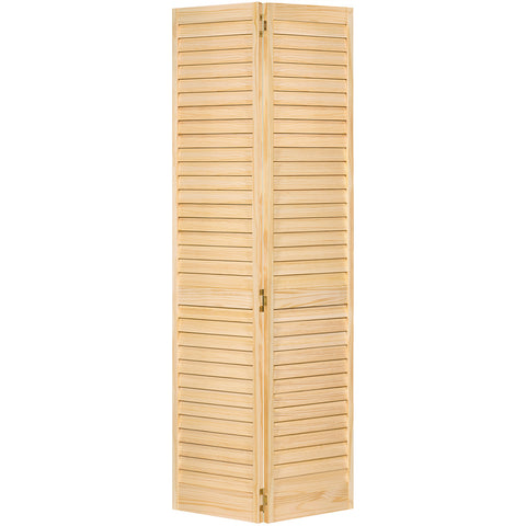 Plantation Louver Louver Solid Core Unfinished Wood Bi-fold Door