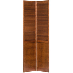Traditional Louver Panel Espresso  Solid Core Wood Bi-fold Door
