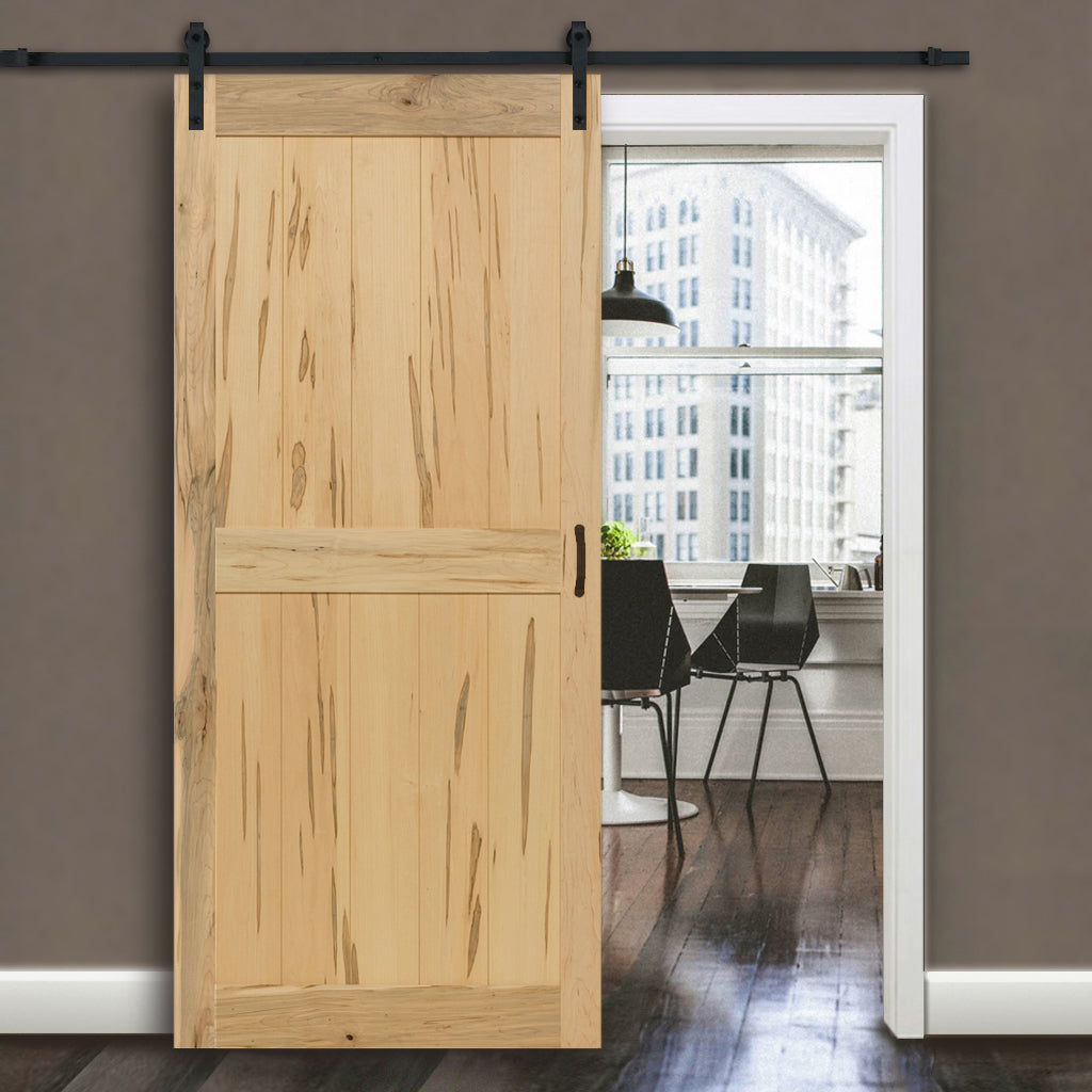 2 Panel Maple Unfinished Interior Barn Door Slab In Out Home Products