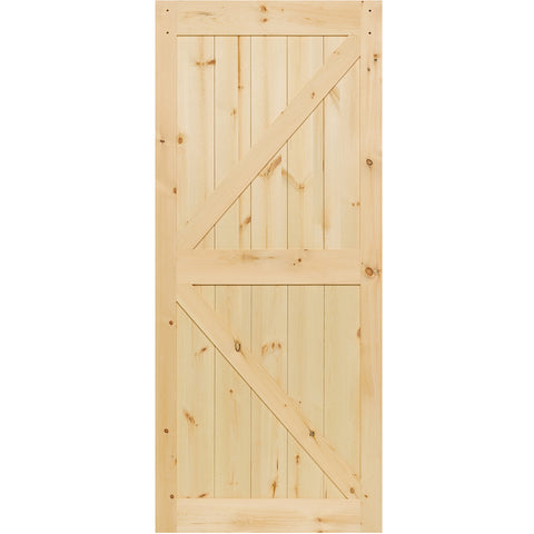 K-Rail Solid Knotty Pine Unfinished Barn Door Slab