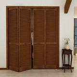 Traditional Louver Louver Espresso  Solid Core Wood Bi-fold Door