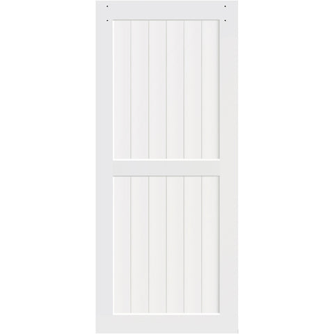 2-Panel White Solid Pine Core Interior Barn Door Slab