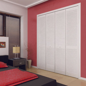 Traditional Louver Louver White Solid Core Wood Bi-fold Door