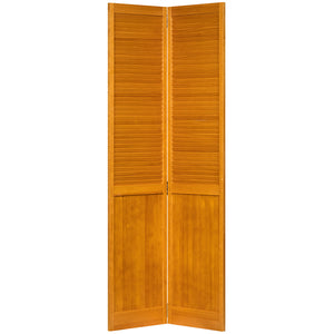 Traditional Louver Panel Golden Oak Solid Core Wood Bi-fold Door