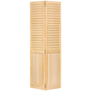 Plantation Louver Panel Solid Core Unfinished Wood Bi-fold Door