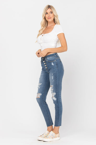 DESTROYED HIGH-WAIST BUTTON FLY SKINNY JEANS