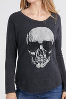LONG SLEEVE MINERAL WASH RHINESTONE SKULL PRINT ON FRONT.