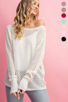 EYELET KNIT SWEATER TOP OFF WHITE