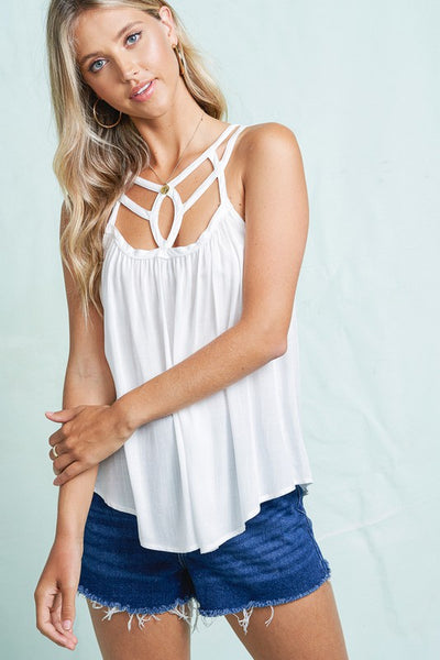CUTOUT FRONT SLEEVELESS TOP
