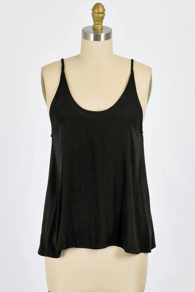 WASHED RAYON CREPE FLOWY CAMI TOP