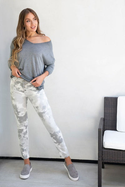 SPOT TIE DYE BUTTON FLY CRINKLE BOYFRIEND PANTS